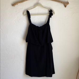 Madewell black 100% silk tiered dress